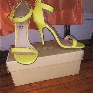 Neon Yellow  Open Toe Stiletto Heels